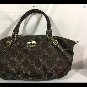 "Coach Signature Sachel Brown Pretty ""C"" Polka dot"